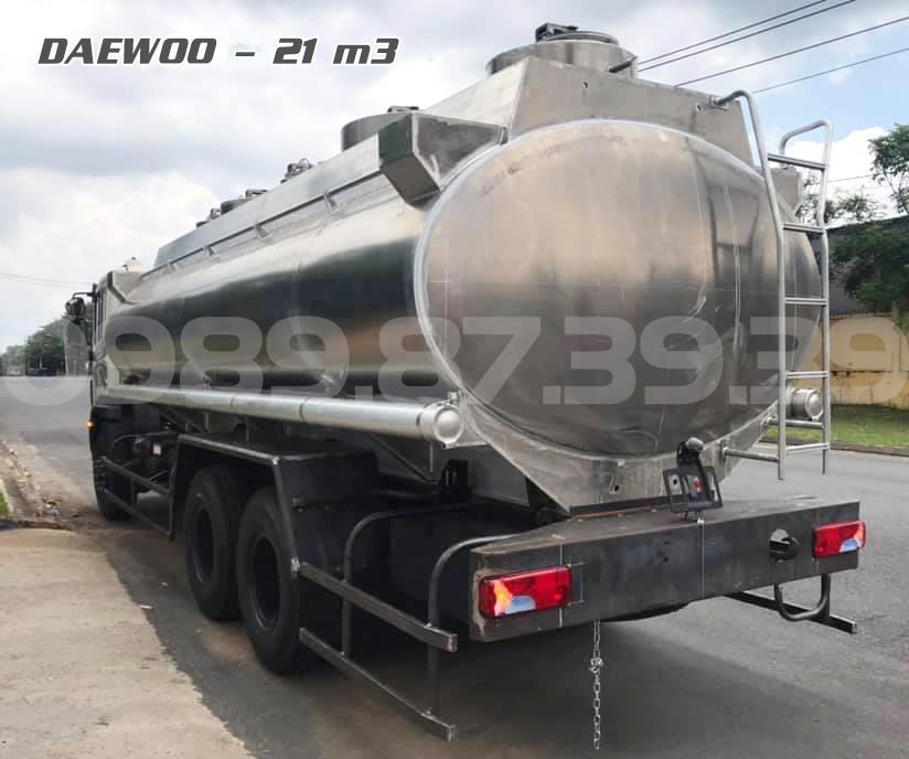 Xe bồn nhôm 21 khối Daewoo 3 chân HU6AA chở xăng dầu