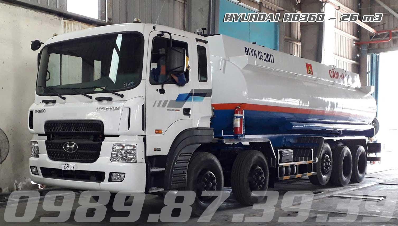 Xe bồn 26 m3 khối chở xăng dầu Hyundai 5 chân HD360