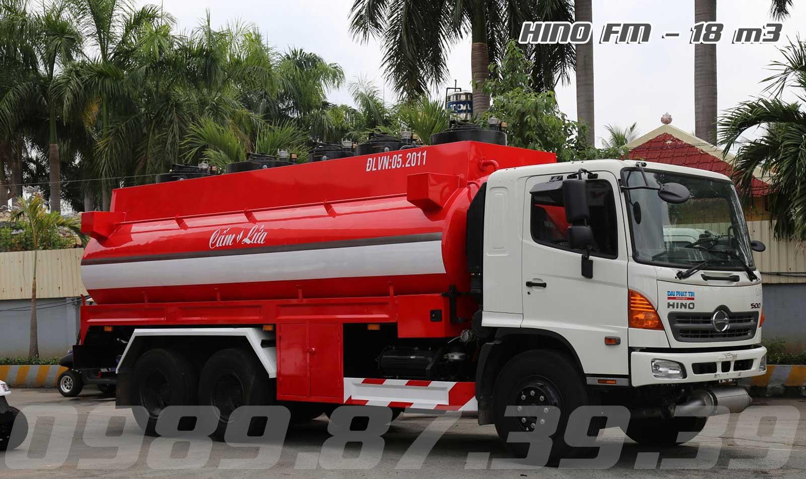 Xe bồn Hino 18 m3 khối chở xăng dầu Hino 3 chân FM