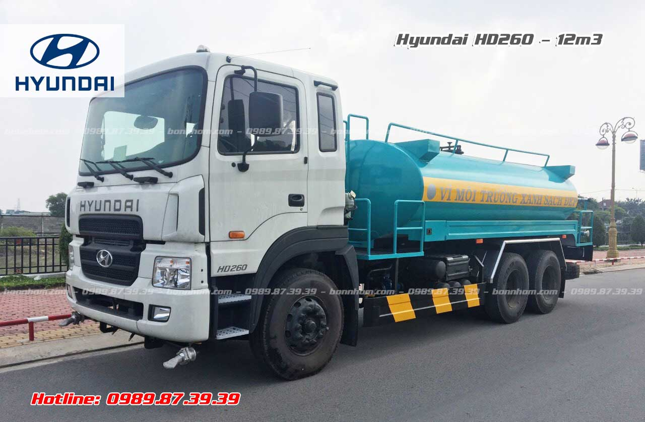 Xe bồn xitec chở nước rửa đường tưới cây 12m3 khối Hyundai HD260