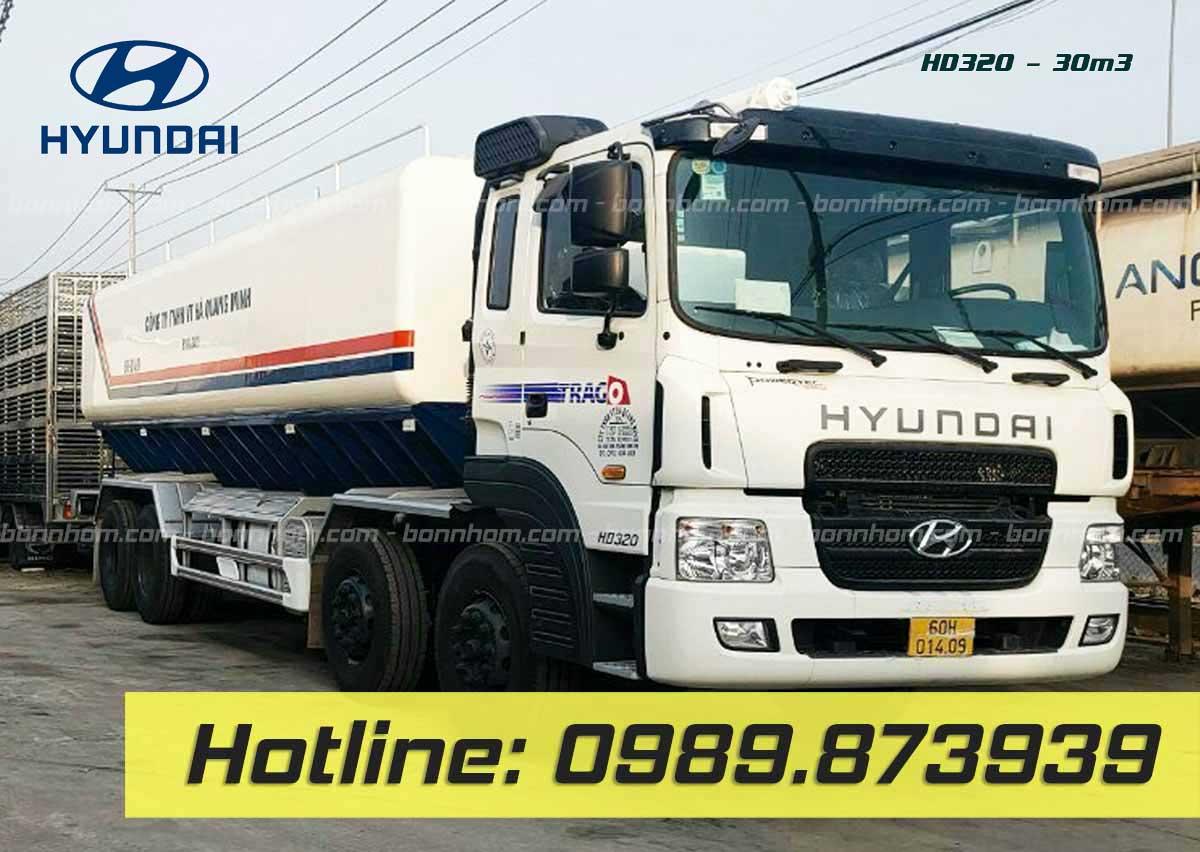 xe bồn chở cám 30 m3 khối Hyundai HD320