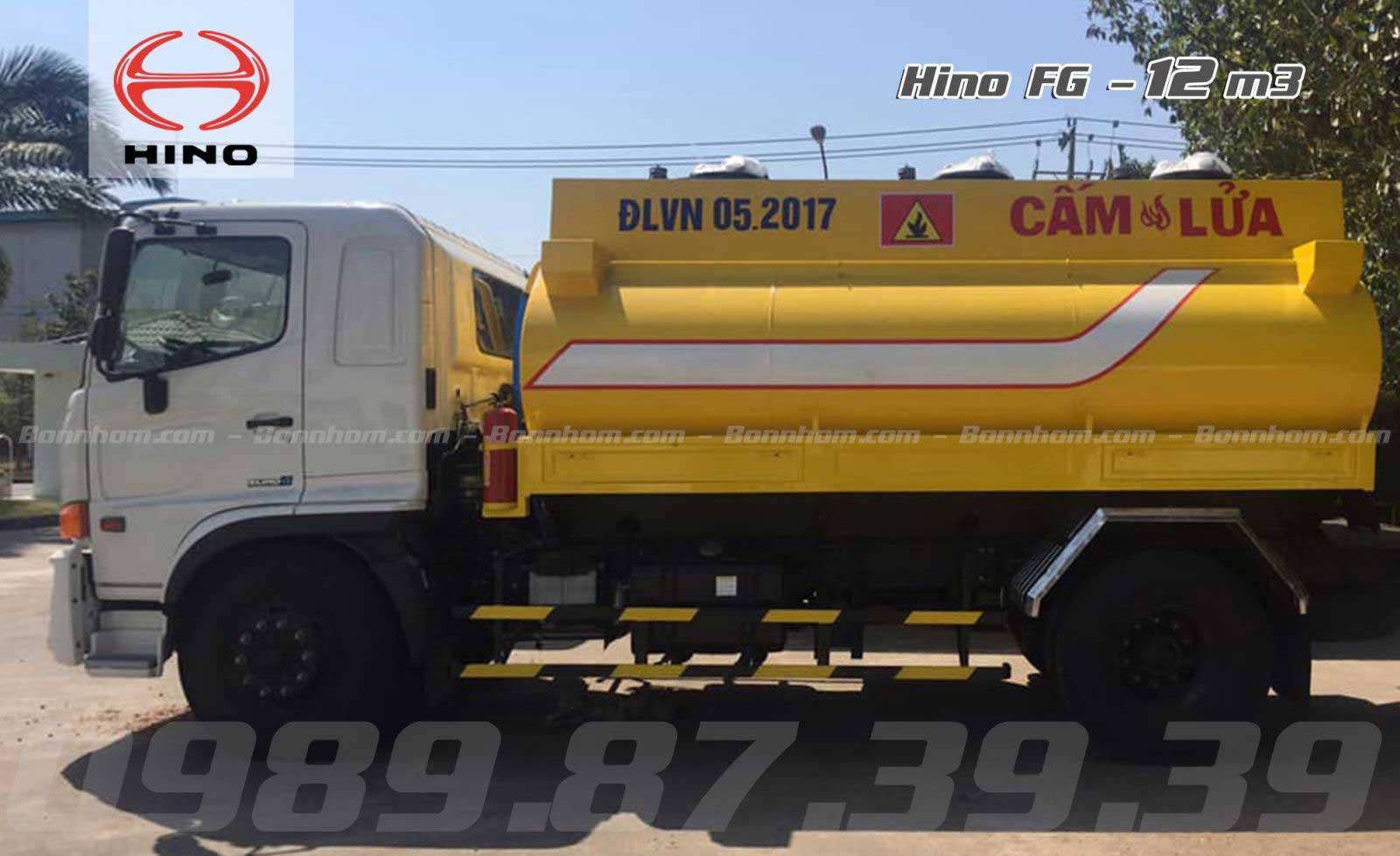 Xe bồn 12 m3 khối chở xăng dầu Hino 2 chân FG