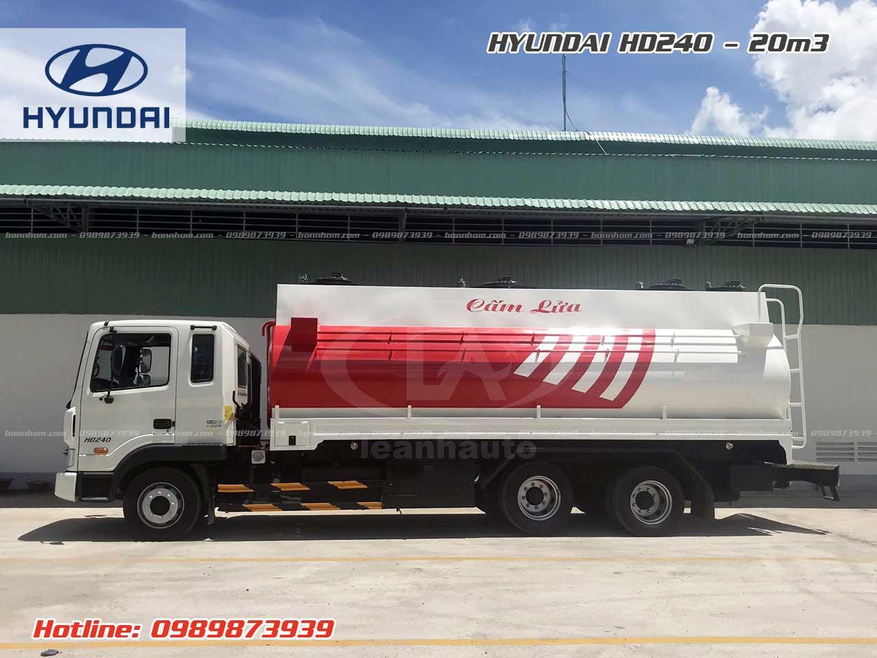 Xe bồn chở xăng dầu 20m3 khối Hyundai HD240