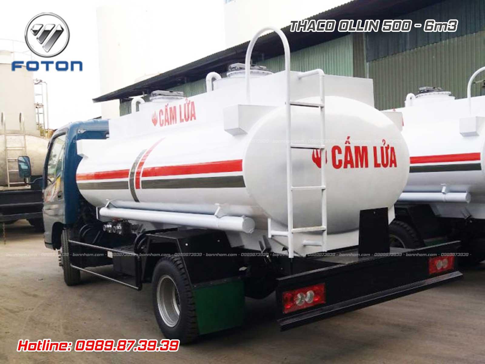Xe bồn 6 m3 khối chở xăng dầu Ollin 500