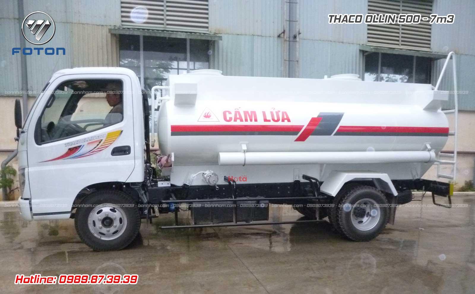 Xe bồn 7 m3 khối chở xăng dầu Ollin 500