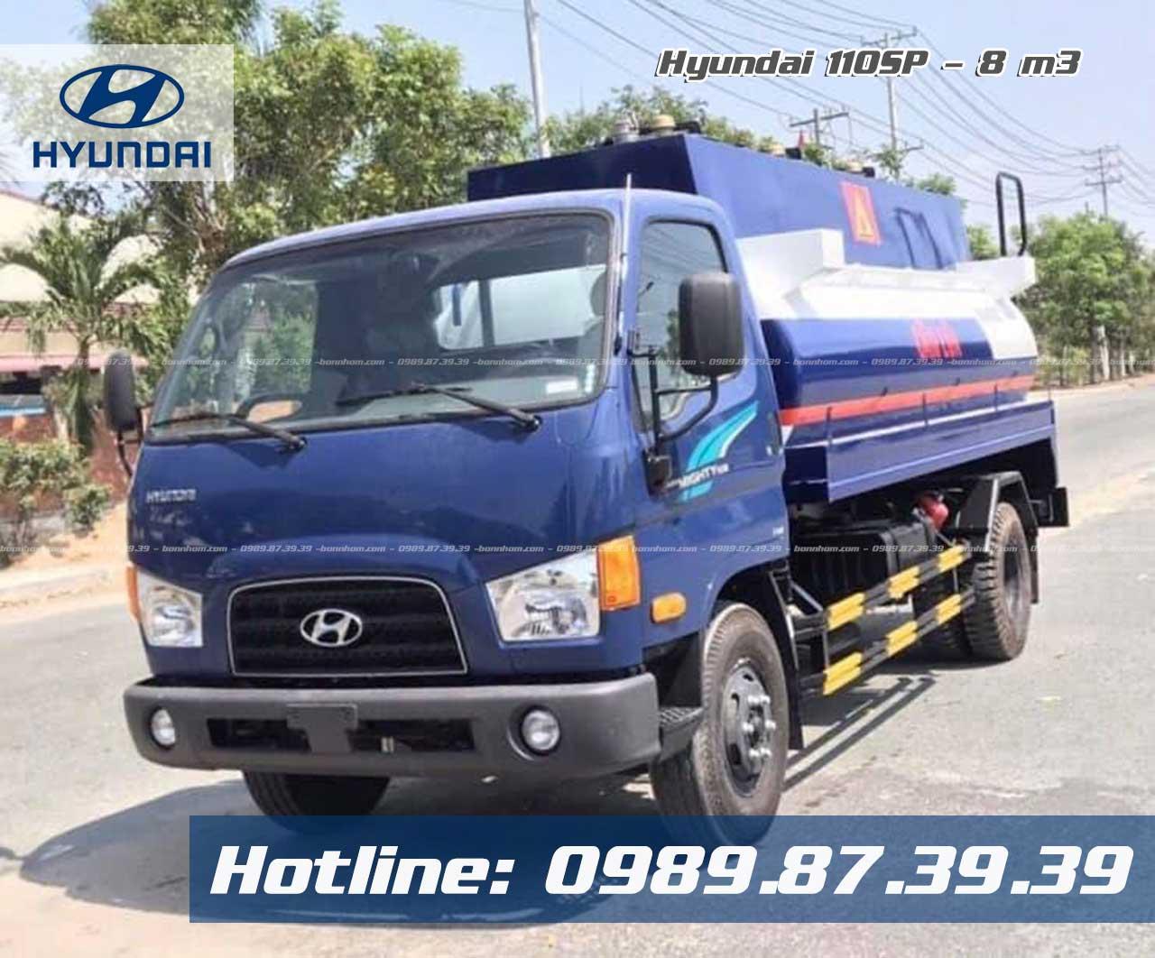 Xe bồn 8 m3 khối chở xăng dầu Hyundai 110SP