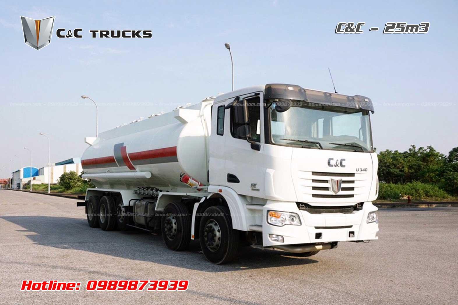 Xe bồn chở xăng dầu C&C 5 chân 25m3 khối