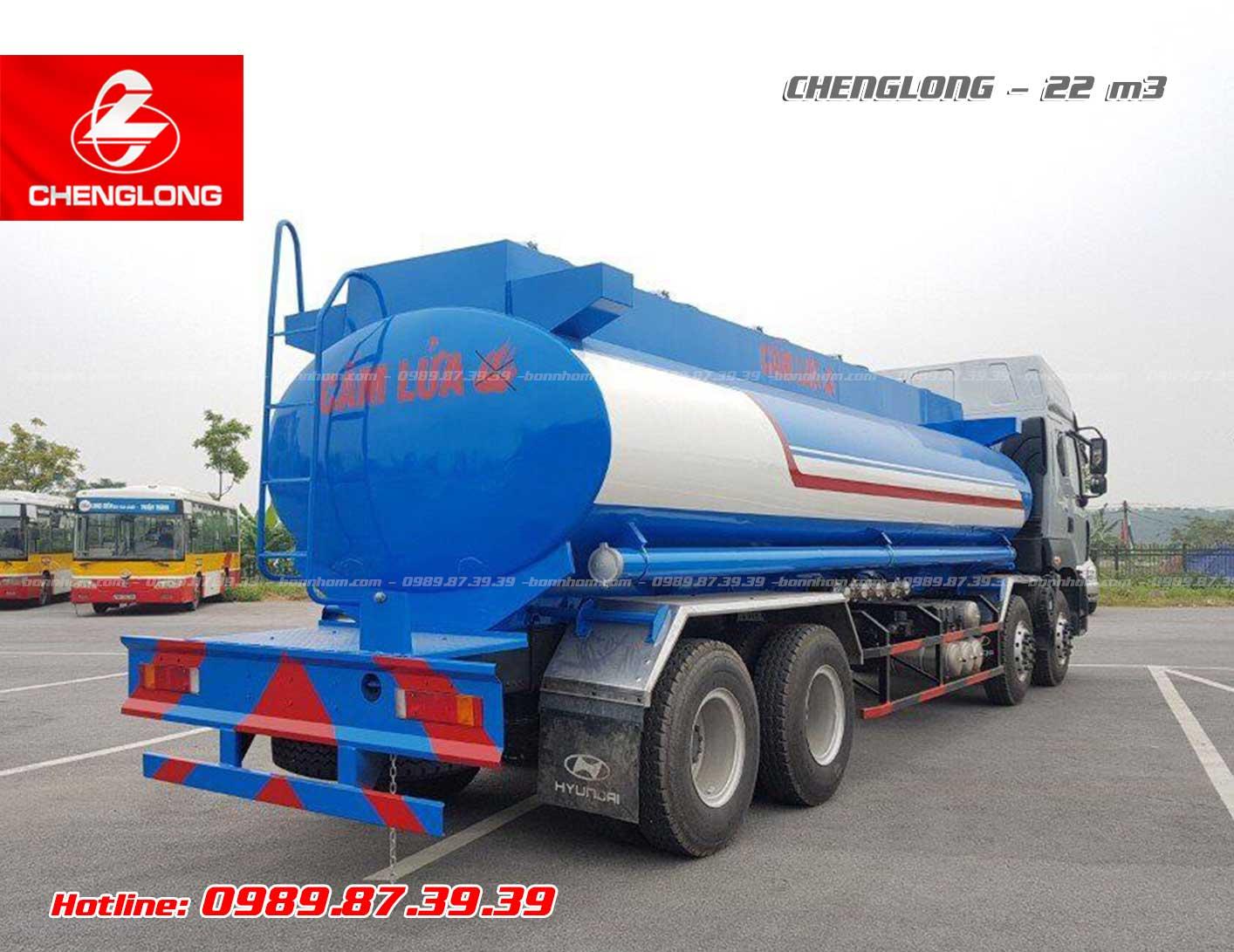 Xe bồn chở xăng dầu Chenglong 4 chân 22m3 khối