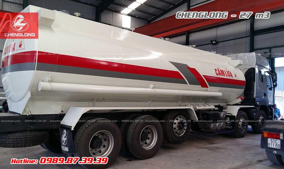 Xe bồn chở xăng dầu Chenglong 5 chân 27m3 khối