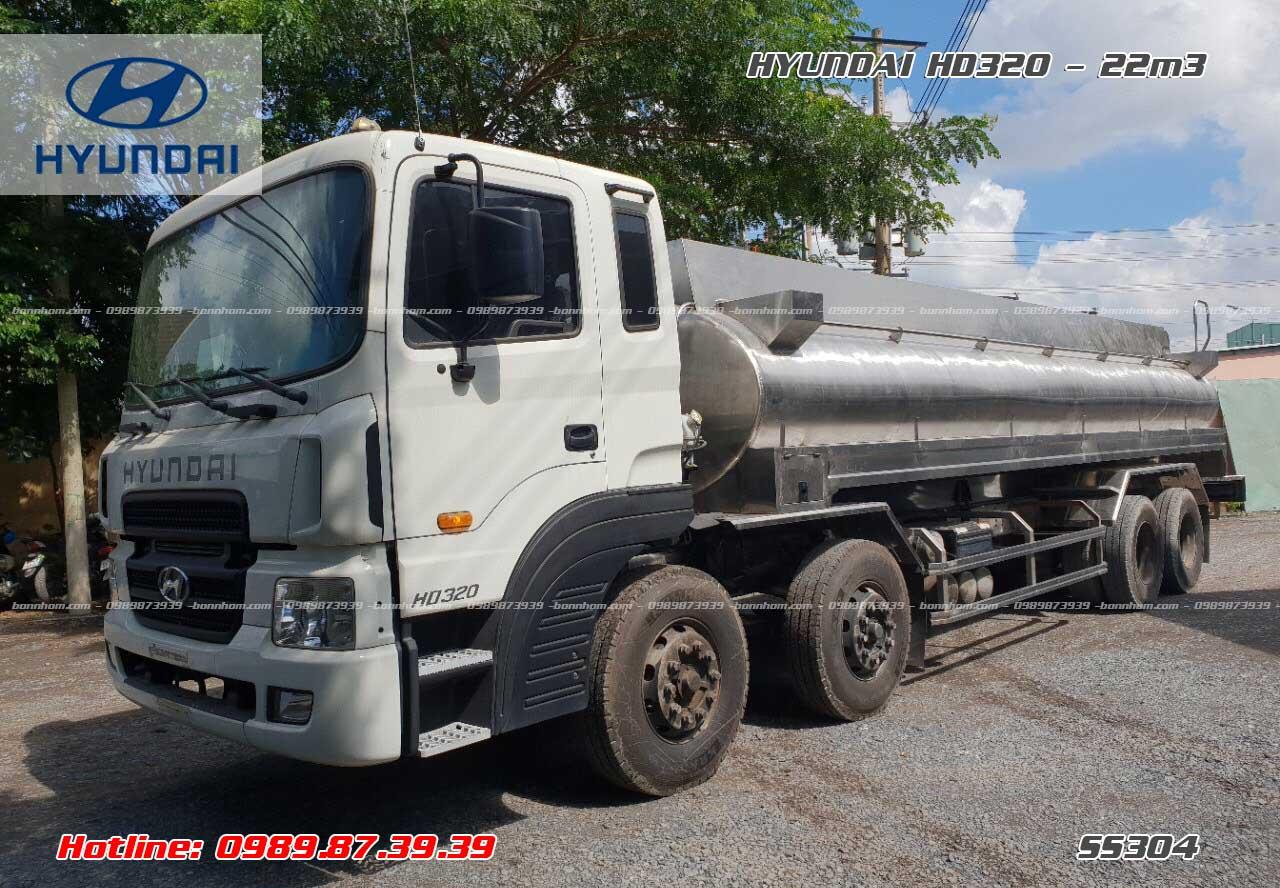 Xe bồn inox chở hóa chất 21m3 Hyundai HD320