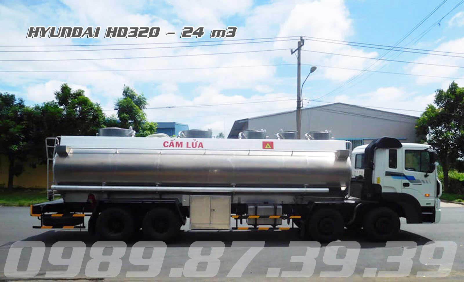 Xe bồn xitec chở xăng dầu 24 m3 khối Hyundai 4 chân HD320