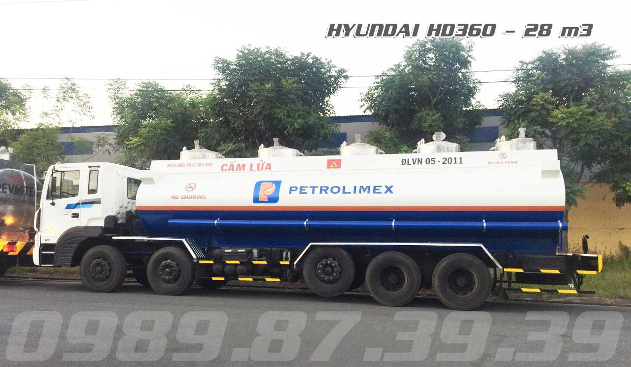 Xe bồn xitec chở xăng dầu 28 m3 khối Hyundai 5 chân HD360