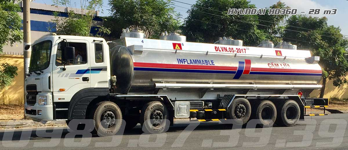 xe bồn chở xăng dầu 28 khối Hyundai HD360