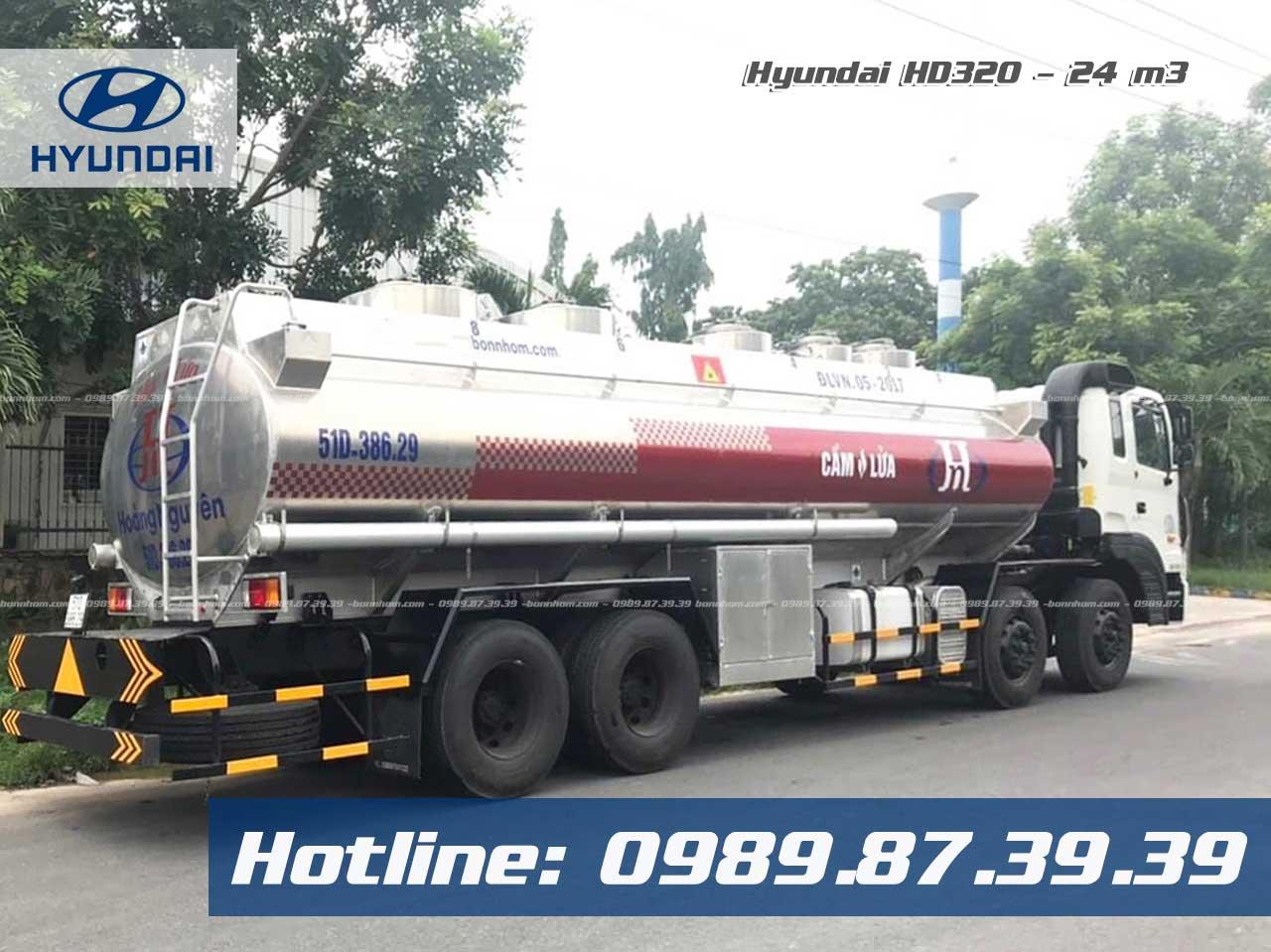 Xe bồn nhôm HYundai HD320 24m3