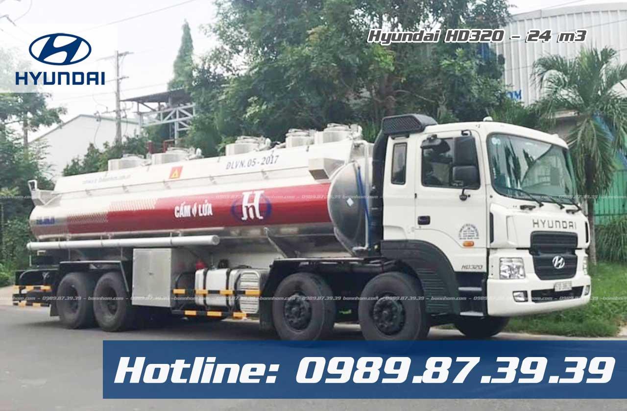 Xe bồn chở xăng dầu 24m3 Hyundai HD320