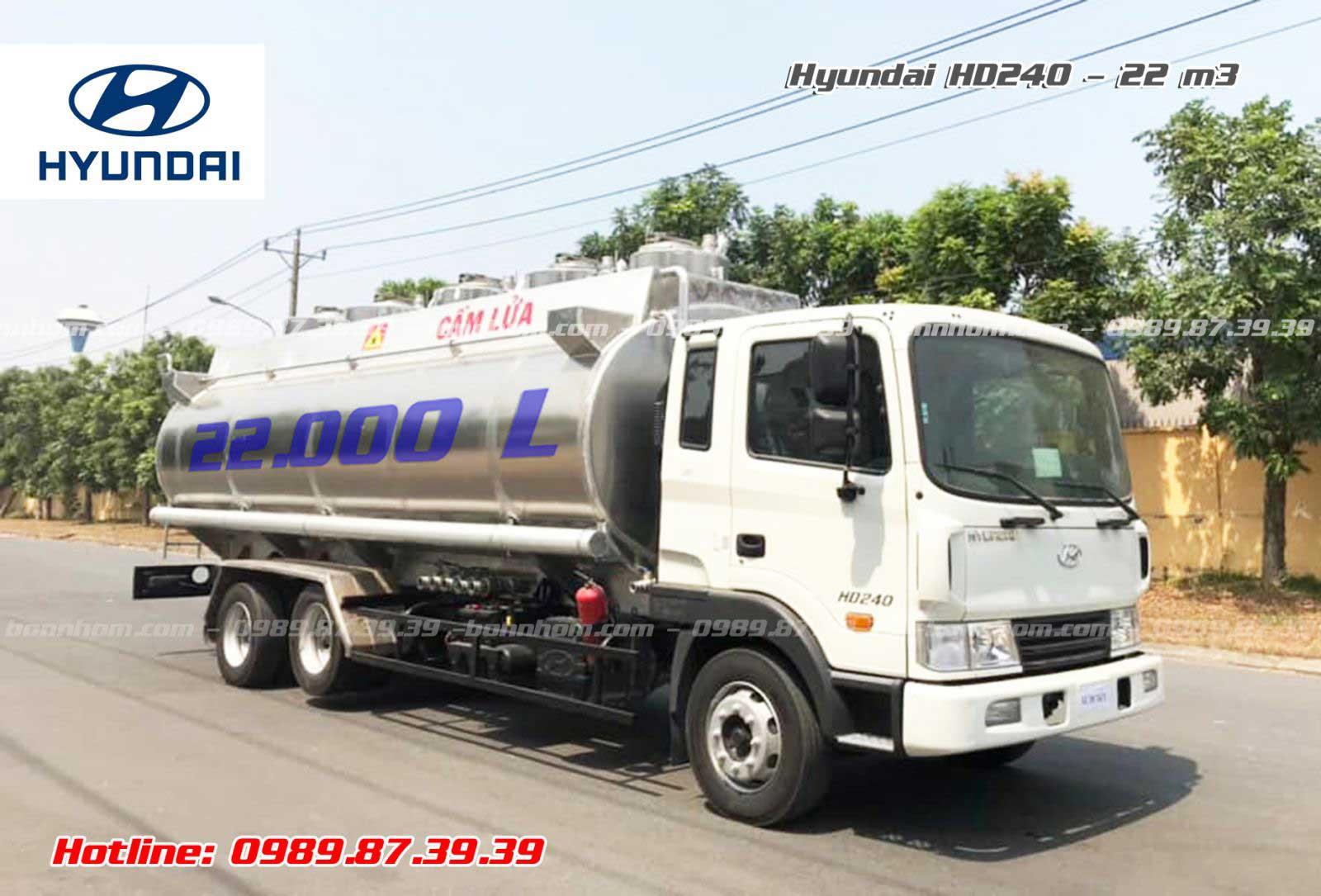 Xe bồn nhôm chở xăng dầu Hyundai HD240 22 khối