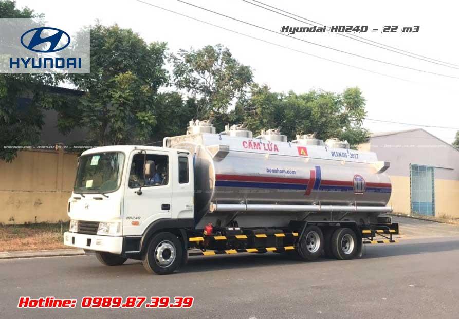 Xe bồn nhôm chở xăng dầu Hyundai 3 chân HD240 22 khối
