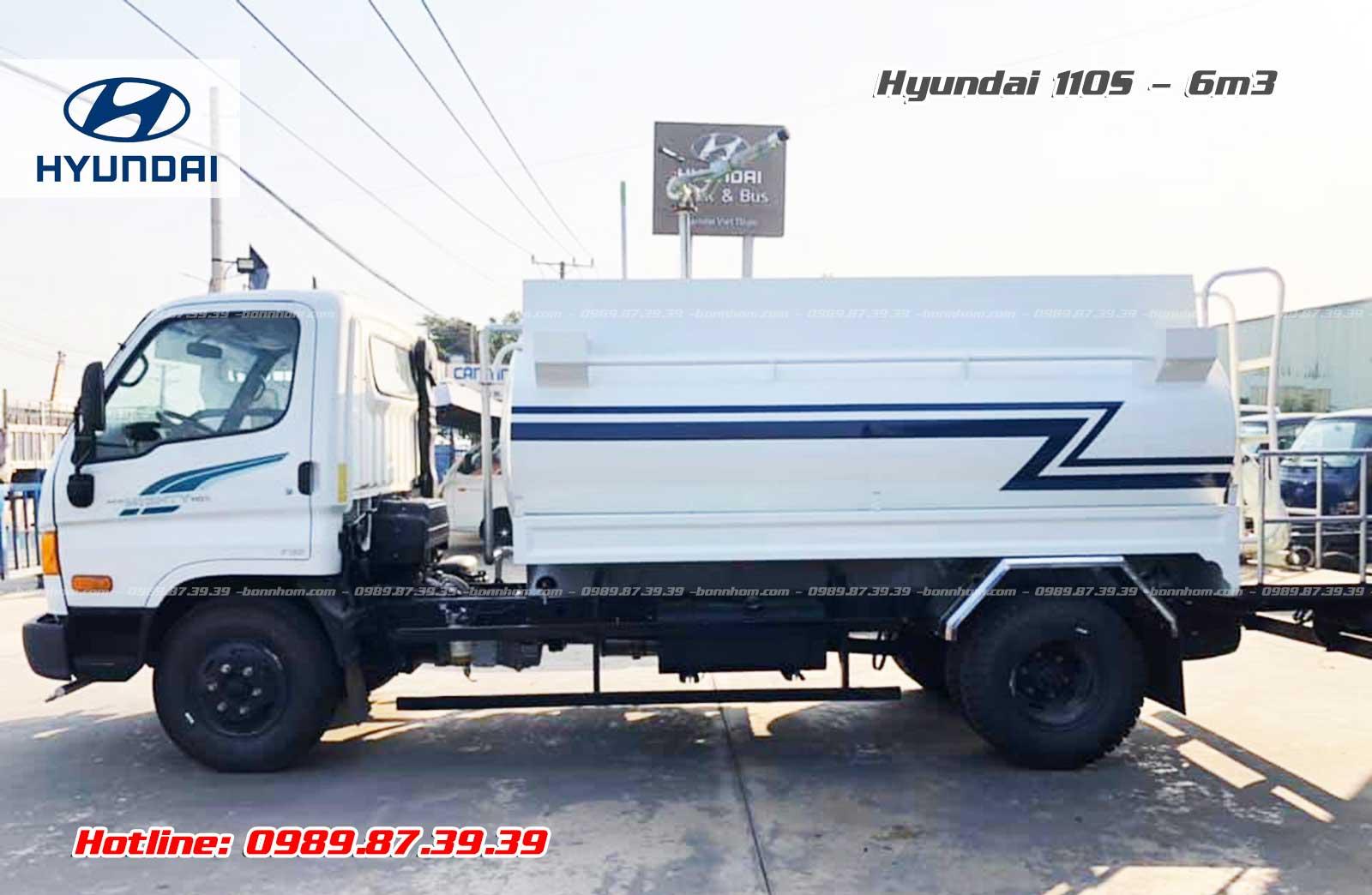 Xe bồn xitec chở nước rửa đường tưới cây 6m3 khối Hyundai 110S