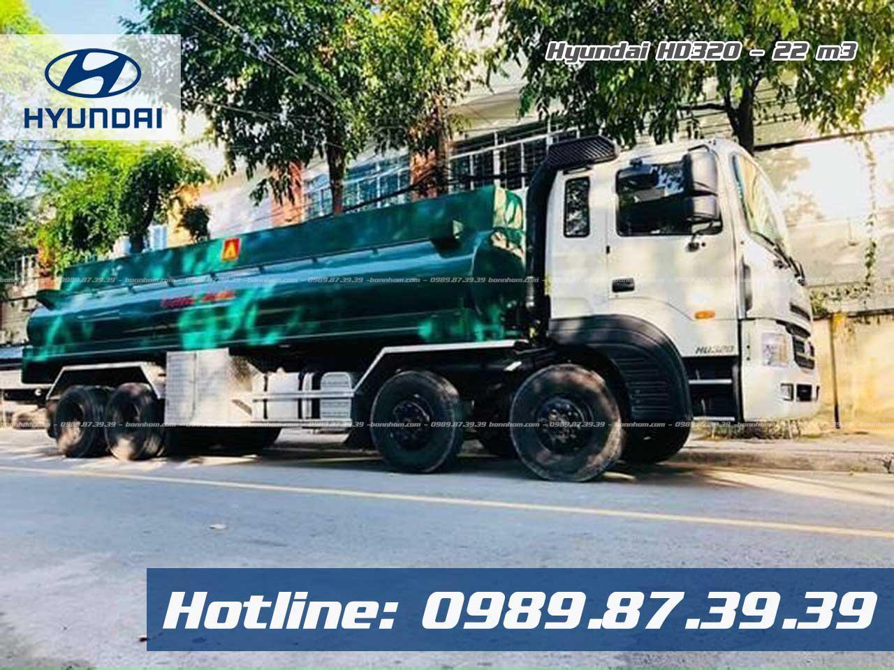 Xe bồn 22 khối chở xăng dầu Hyundai HD320