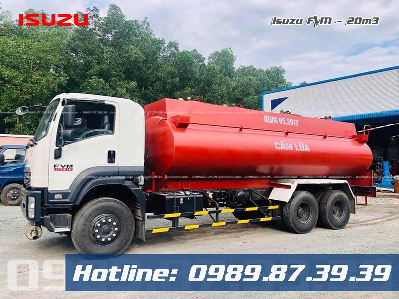 Xe bồn Isuzu 3 chân chở xăng dầu 20 khối FVM