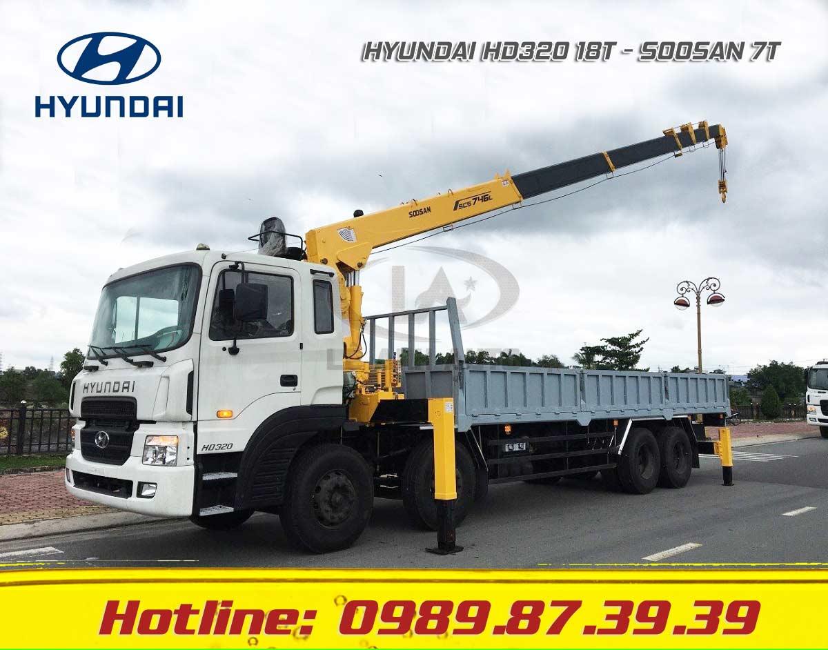 Xe tải Hyundai 18T HD320 gắn cẩu Soosan 7 tấn SCS746L