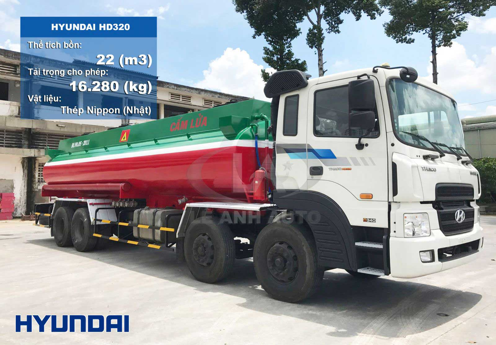 Xe bồn 22 m3 khối chở xăng dầu Hyundai 4 chân HD320
