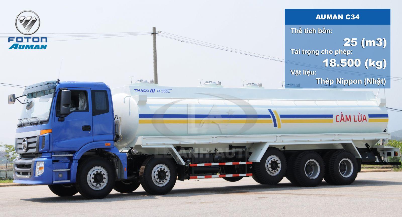 Xe bồn chở xăng dầu 26m3 khối Auman C34