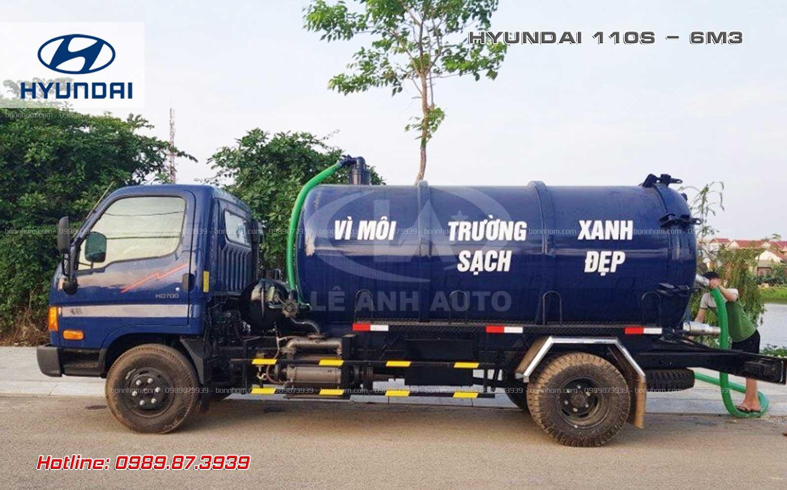 Xe bồn hút chất thải 6m3 khối Hyundai 110SP.