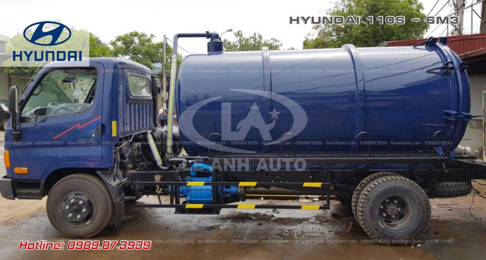 Xe bồn hút chất thải 6m3 khối Hyundai 110SP